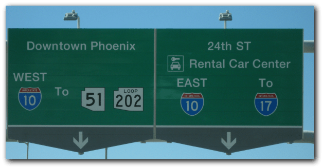 freeway exit sign Phoenix AZ